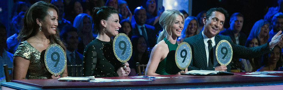 Carrie Ann Inaba, Idina Menzel, Julianne Hough, and Bruno Tonioli