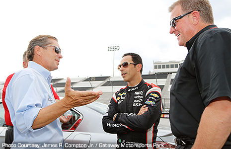 Curtis Francois, Helio Castroneves, and Jay Frye