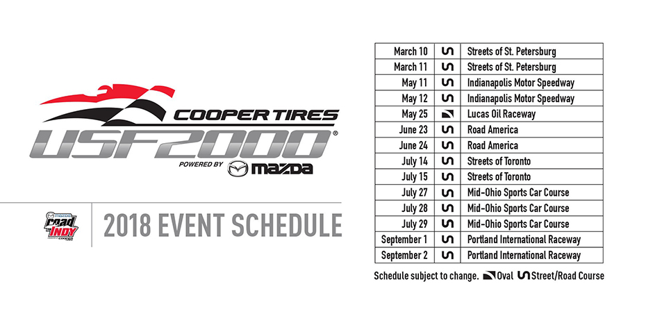 2018 Cooper Tires USF2000 Schedule