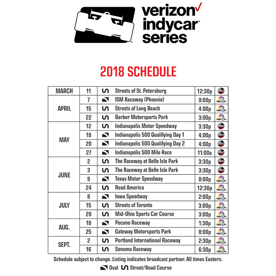 2018 Verizon IndyCar Series Schedule