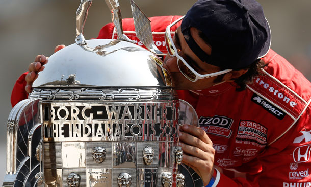 Dario Franchitti Kissing Trophy