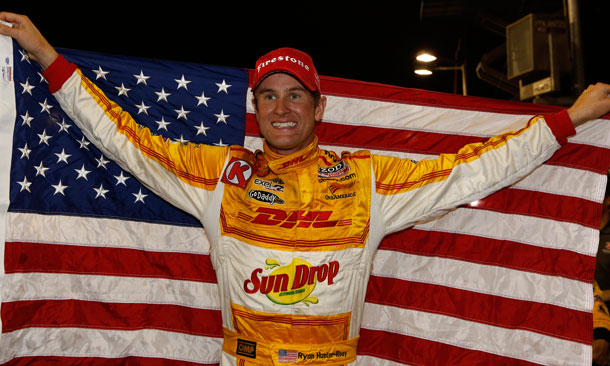 Hunter-Reay with the US Flag