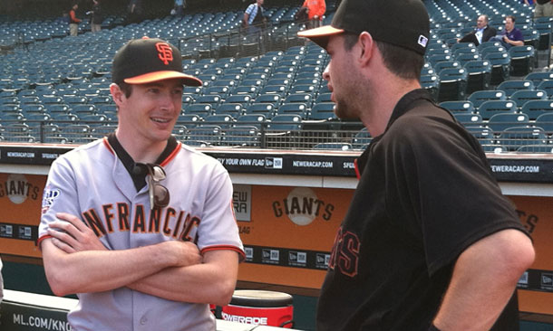 JR Hildebrand with San Francisco Giants' Brandon Belt