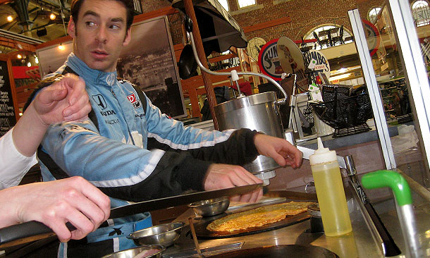 Chef Simon Pagenaud making crepes