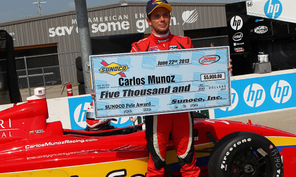 Carlos Munoz wins the pole for the Sukup 100