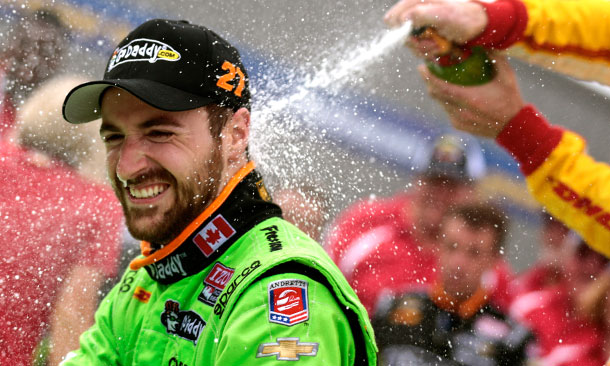 Champagne flies as James Hinchcliffe wins at Iowa Speedway