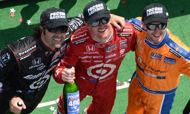 Pocono Podium - Scott Dixon, Charlie Kimball, and Dario Franchitti