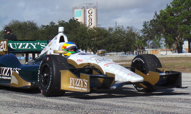 Mike Conway testing the No. 20 Fuzzy's Vodka/Ed Carpenter Racing Chevrolet at Sebring.