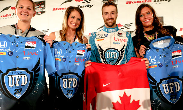 James Hinchcliffe with the Canadian Women's Hockey Team