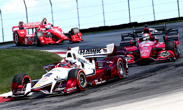 Juan Pablo Montoya, Graham Rahal, and Scott Dixon