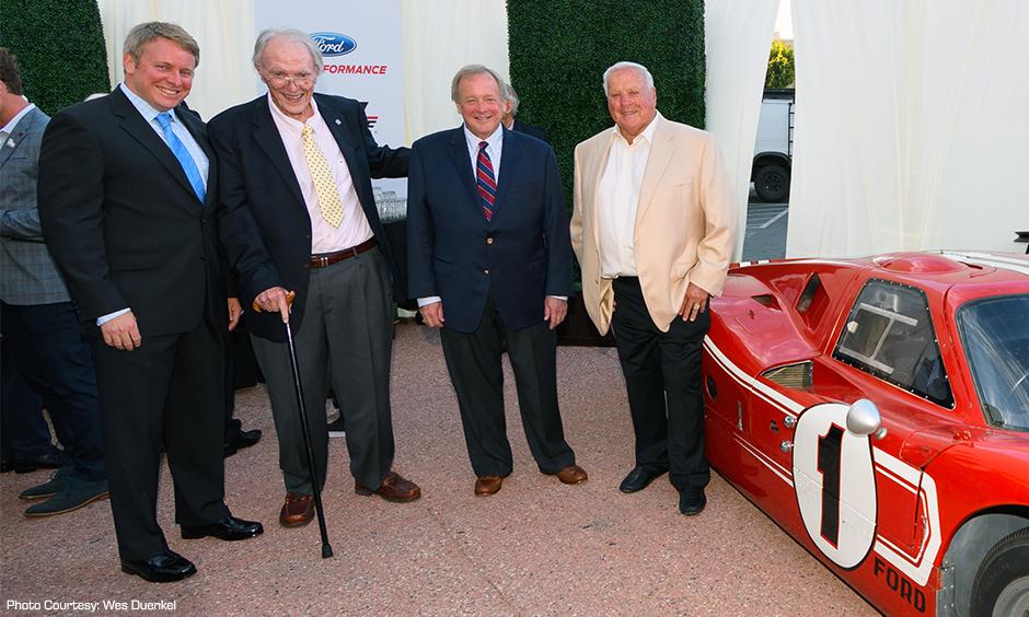 Dan Gurney, A.J. Foyt, Edsel Ford II, and Edsel Ford III