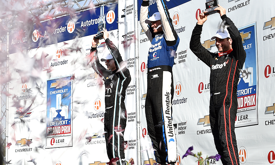 Graham Rahal, Josef Newgarden, and Will Power