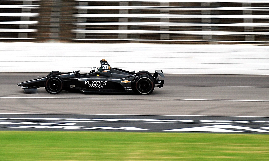 Ed Carpenter tests the new 2018 Indy car at Texas Motor Speedway.