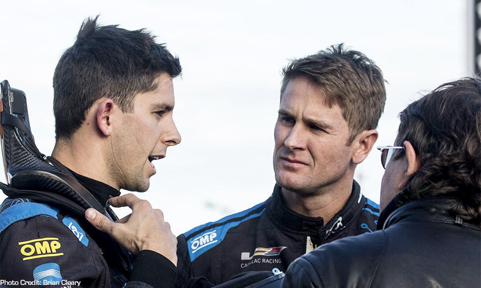 Ryan Hunter-Reay chats with teammate and reigning IMSA prototype champion Jordan Taylor.